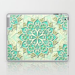 White cyan and yellow Beautiful Wedding Mandala Laptop & iPad Skin