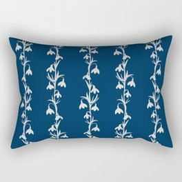 Delicate Snowdrop Floral Silhouettes Stripe Rectangular Pillow