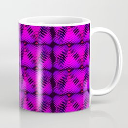 Purple striped hearts on burgundy background. Coffee Mug