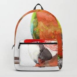 Vector Style Harlequin Macaw On A Perch Backpack