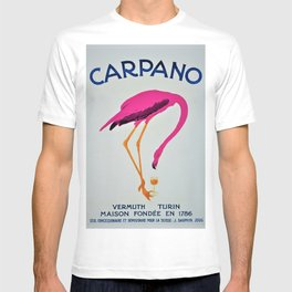 Vintage Carpano Pink Flamingo Motif Vermouth Advertisement Poster T-shirt