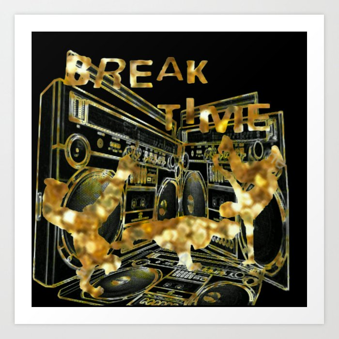 Break Time (black and gold vers.) Art Print