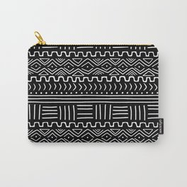Mud Cloth on Black Carry-All Pouch