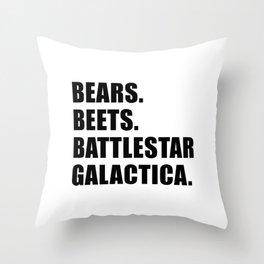 Bears. Beets. Battlestar Galactica. Throw Pillow
