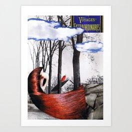 voyage extraordinaire - collage Art Print