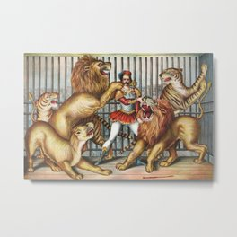 The Lion Tamer - Vintage Circus Art, 1873 Metal Print