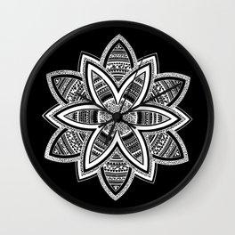 wholeness white mandala on black Wall Clock