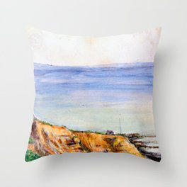 View of Swanage Bay Throw Pillow