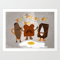 breakfast club Art Prints featuring Breakfast club by monrix