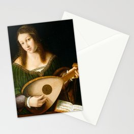 Bartolomeo Veneto and Workshop Lady Playing a Lute Stationery Cards