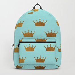 Gold Glitter effect crowns on teal - Royal Pattern for Princesses Backpack