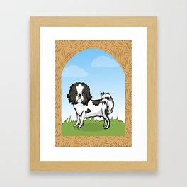 B/W Chin Dog Framed Art Print