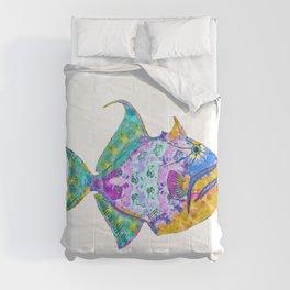 Tropical Trigger Fish - Colorful Beach Art - Sharon Cummings Comforters