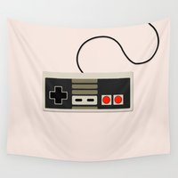old school Wall Tapestries featuring Old School Nintendo by fairandbright