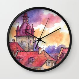 Lucerne ink & watercolor illustration Wall Clock