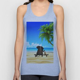 Relaxed elephants at sea Unisex Tank Top