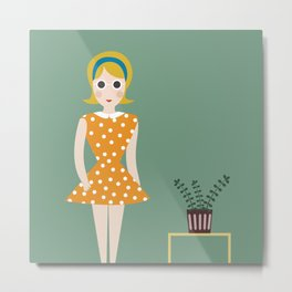 fashioned girl in the 60s Metal Print