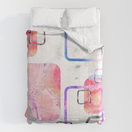 watercolor geometric print pattern pink contemporary squares Comforters