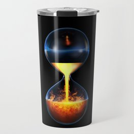 Old flame / 3D render of hourglass flowing liquid fire Travel Mug