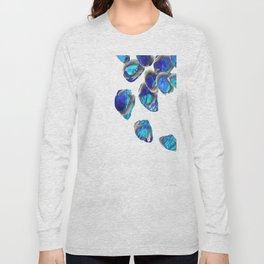 Blue And White Abstract Art - Falling 1 - Sharon Cummings Long Sleeve T-shirt