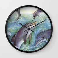 dolphins Wall Clocks featuring Dolphins by Natalie Berman