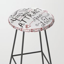 'Your Vibe Will Attract Your Tribe' Quote Mandala Red Bar Stool