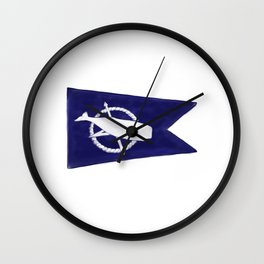 Nantucket Blue and White Sperm Whale Burgee Flag Hand-Painted Wall Clock