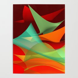 flying waves over red Poster