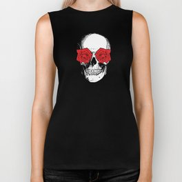 Skull and Roses | Grey and Red Biker Tank