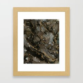Midnight Gold - Abstract Ink Painting Framed Art Print