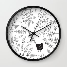Bird in the Bushes by Tasha Johnson Wall Clock
