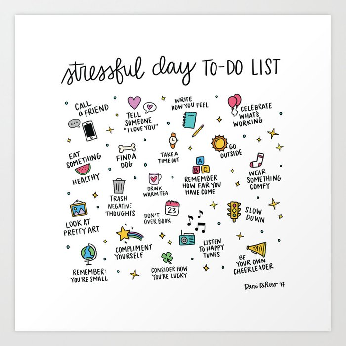 Stressful Day To-Do List Art Print