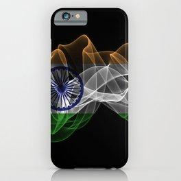 India Smoke Flag on Black Background, India flag iPhone Case