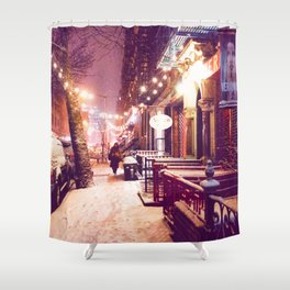 Winter Night with Snow in the East Village New York City Shower Curtain
