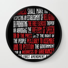 First Amendment Freedom of Speech and Protest Wall Clock