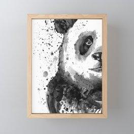 Black And White Half Faced Panda Framed Mini Art Print