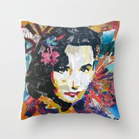 jenny liz rome Throw Pillows featuring Liz by Phil Fung