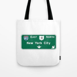 New York City Interstate 80 Sign Tote Bag