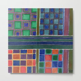 Four Squares with Check Patterns Metal Print