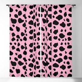 Cow Print, Cow Pattern, Cow Spots, Pink Cow Blackout Curtain