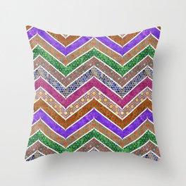 Moroccan Watercolor Lattice Chevrons Pattern Throw Pillow