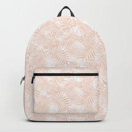 Soft Pastel Orange Peach Monstera Jungle Leaves Backpack