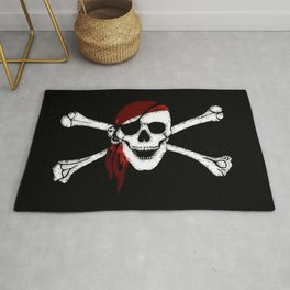 Creepy Pirate Skull and Crossbones Rug