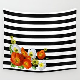 Poppy Flowers and Black & White Stripes Pattern Wall Tapestry