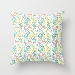 Watercolor Dinosaurs Hand Drawn Illustration Pattern Throw Pillow