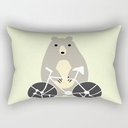 Bear with bike Rectangular Pillow