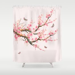 Pink Cherry Blossom Dream Shower Curtain