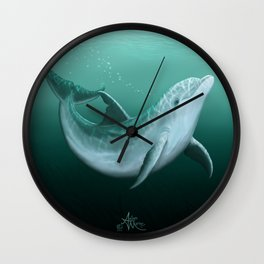 """Riversoul"" by Amber Marine ~ Indian River Lagoon bottlenose dolphin art, (Copyright 2014) Wall Clock"