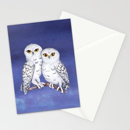 Two lovely snowy owls Stationery Cards