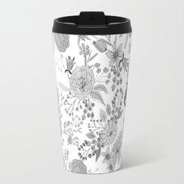 Abstract black white rustic modern floral illustration Travel Mug